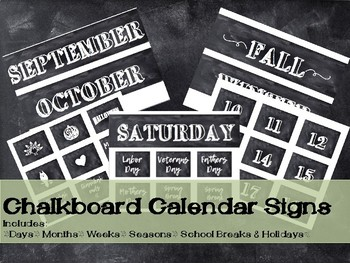 Rustic Chalkboard Calendar time Signs
