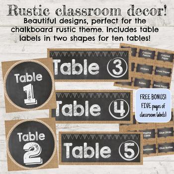 Rustic Chalkboard Classroom Decor, Table Labels (bonus supply labels!)