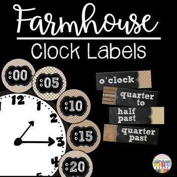 Rustic Chalkboard Clock Labels