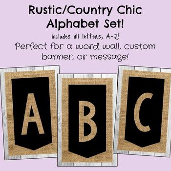 Rustic Chalkboard / Country Chic Alphabet Set