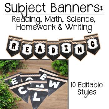 Rustic Chalkboard Pennant Banners Editable
