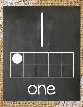 Rustic Chalkboard Ten Frame Posters