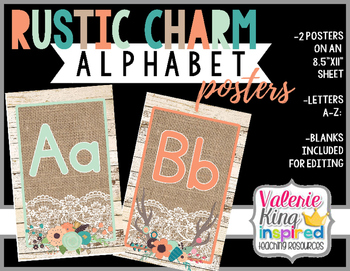 Rustic Charm Collection: Alphabet Posters (Farmhouse Style)