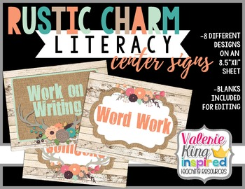 Rustic Charm Collection: Literacy Center Signs