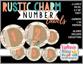 Rustic Charm Collection: Number Labels (Farmhouse Style)