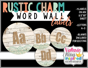 Rustic Charm Collection: Word Wall Labels