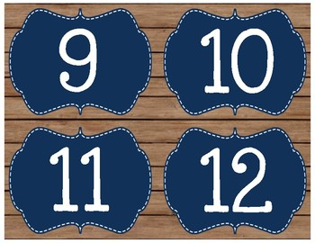 Rustic Chic & Chalkboard Book Bin Number Labels in Navy