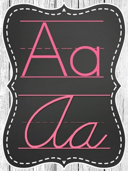 Rustic Chic Chalkboard with Brights Alphabet Posters