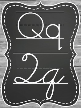 Rustic Chic Chalkboard with Gray Wood Alphabet Posters