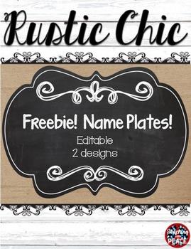 Rustic Chic Theme Name Plates **editable** FREEBIE!