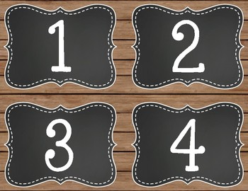 Rustic Chic and Chalkboard Book Bin Number Labels