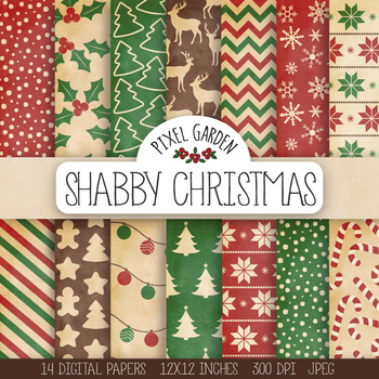 Rustic Christmas Digital Paper. Winter, Snowflake, Candy Cane Patterns- 14 JPEGs