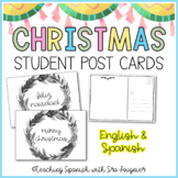 Christmas Student Post Cards in Spanish and English - Distance Learning