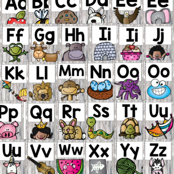 Rustic Classroom Alphabet: Burlap & Wood