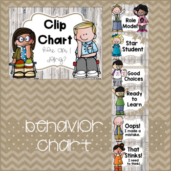 Rustic Classroom Decor Behavior Chart & Rules: Burlap & Wood FREEBIE