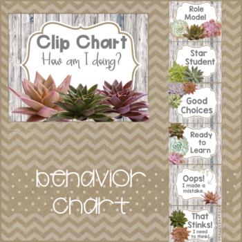 Succulent Theme Classroom Behavior Chart & Rules: Burlap & Wood FREEBIE