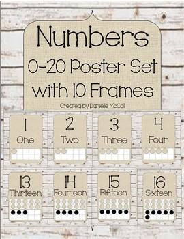 Rustic Classroom Decor -10 Frame Posters 0-20