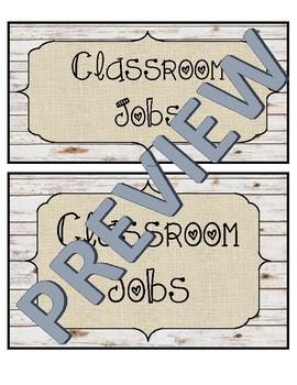 Rustic Classroom Decor - Editable Classroom Jobs