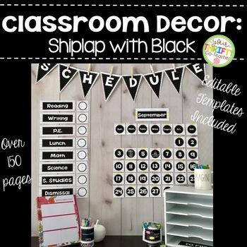 Classroom Decor Rustic Shiplap and Black EDITABLE