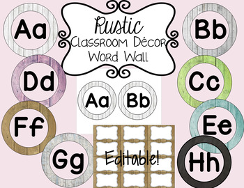 Rustic Classroom Decor: Word Wall (Editable)