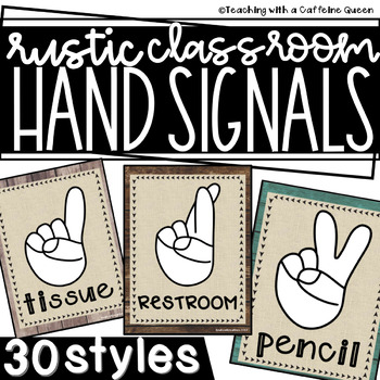 Rustic Classroom Hand Signals (Farmhouse/Industrial)