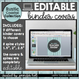 EDITABLE Rustic Coastal Farmhouse Binder Covers and Spines