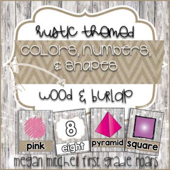 Rustic Colors, Numbers, & Shapes: Burlap & Wood