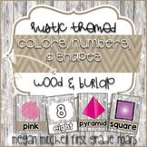 Rustic Classroom Decor Colors, Numbers, & Shapes Burlap & Wood