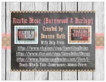 Rustic Decor {Barnwood & Burlap} Inspirational/Motivational Posters
