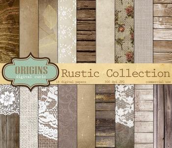 Rustic Digital Paper, wood, burlap and lace, old paper tex