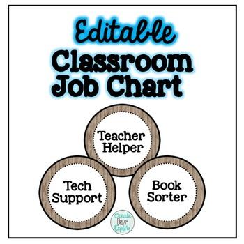 Rustic Editable Classroom Job Chart