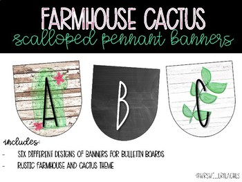 Rustic Farmhouse Cactus Scalloped Pennant Banners