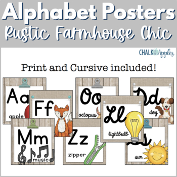 Alphabet Line in Print & Cursive - Rustic Farmhouse Chic