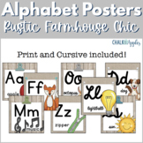Alphabet Line in Print & Cursive - Rustic Farmhouse Chic