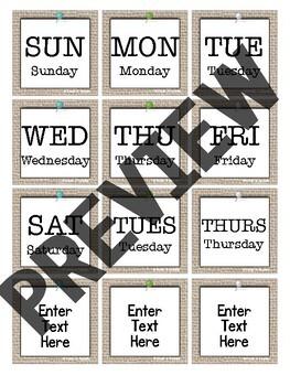 Rustic Farmhouse Chic Calendar Set (Editable!)