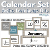 Editable Calendar Set - Rustic Farmhouse Chic