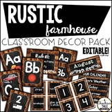 Rustic Farmhouse Classroom Decor Bundle - Editable Options Included!
