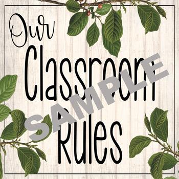 Rustic Farmhouse Classroom Rule Posters