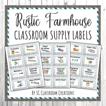 Rustic Farmhouse Classroom Supply Labels-Classroom Decor