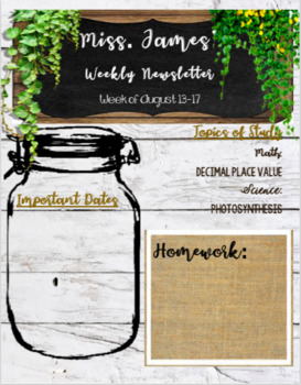 Rustic Farmhouse Classroom Weekly Newsletter