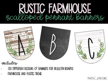 Rustic Farmhouse Scalloped Pennant Banners