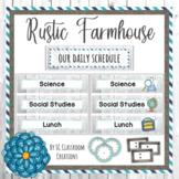 Rustic Farmhouse Schedule Cards-Classroom Decor