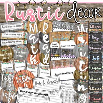Rustic Farmhouse Shabby Chic Decor Bundle (Behavior Chart, Name Plates, Labels)