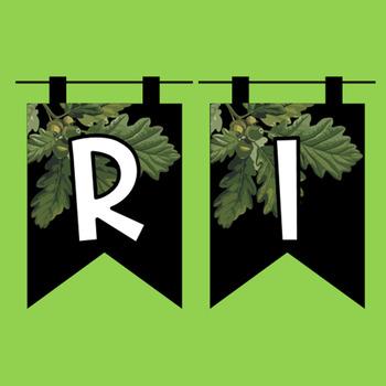 Rustic Farmhouse Subject Banners - Leafy Burlap