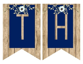Rustic Farmhouse Subject Banners - Navy and Light Wood