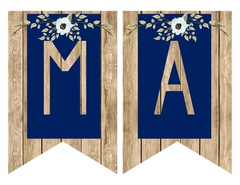 Rustic Farmhouse Subject Banners Decor - Navy and Light Wood with Floral Accents