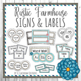 Rustic Farmhouse Themed Labels and Signs-Classroom Decor
