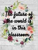 Rustic Floral Classroom Signs