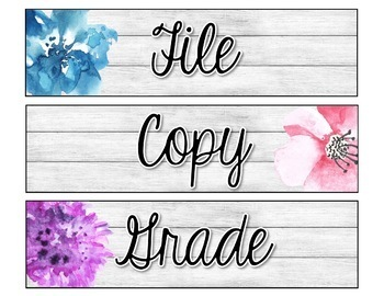 Rustic Floral Editable Sterilite Drawer Labels