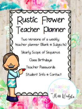 Rustic Flower Teacher Planner